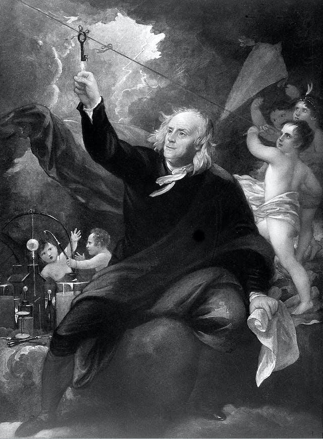A mythical (and mythologizing) depiction of Benjamin Franklin