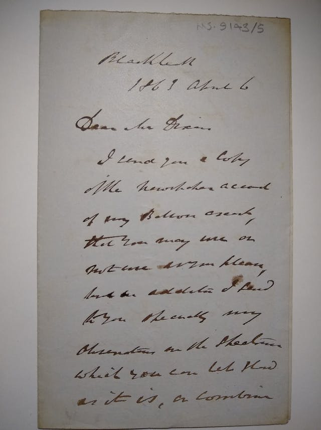 Hand-written letter, ink on paper, to Mr Dixon, Blackheath.