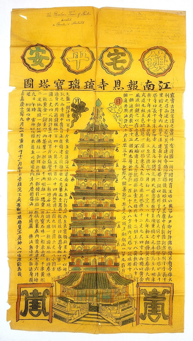 Pictorial map of the porcelain pagoda (or stupa) of the Pao-en-szu of Nanking, surrounded by written characters.