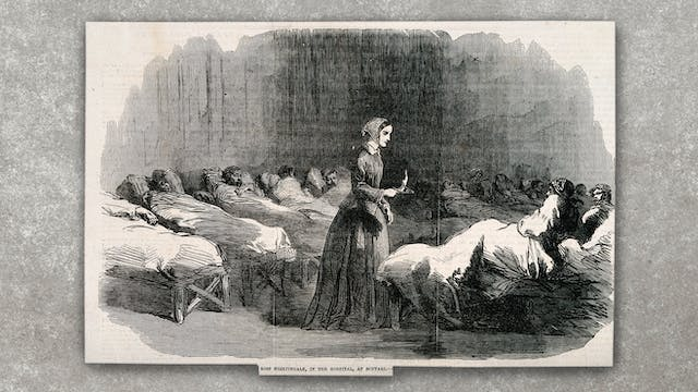 A black and white wood engraving of Florence Nightingale, surrounded by patients in hospital beds, photographed on a concrete textured background.