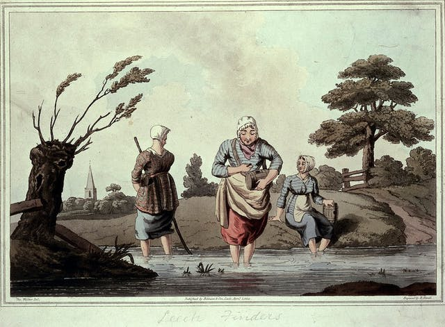 Painting of three women standing in a stream, with trees and a church spire in the background.