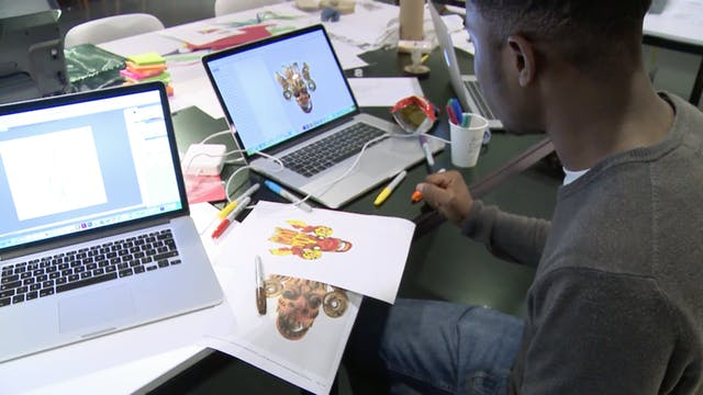 Film still showing young people collaborating with industry experts to create new Wellcome Collection retail products.