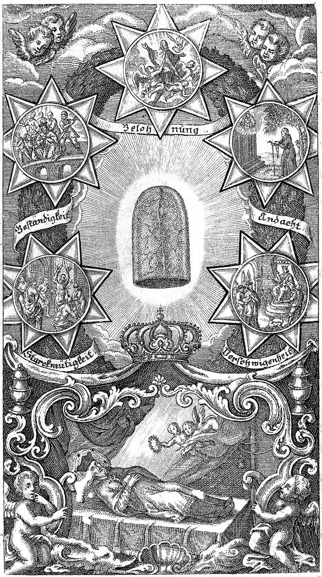Etching of a disembodied tongue surrounded by stars with episodes from the life of St John Nepomuk. Translation of the lettering: devotion, secrecy, courage, faithfulness, reward.
