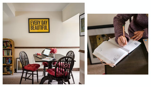 Photographic diptych showing a dinning room table with a laptop, notebooks and a flowers, on the left and a close-up of hands writing in a diary on the right.