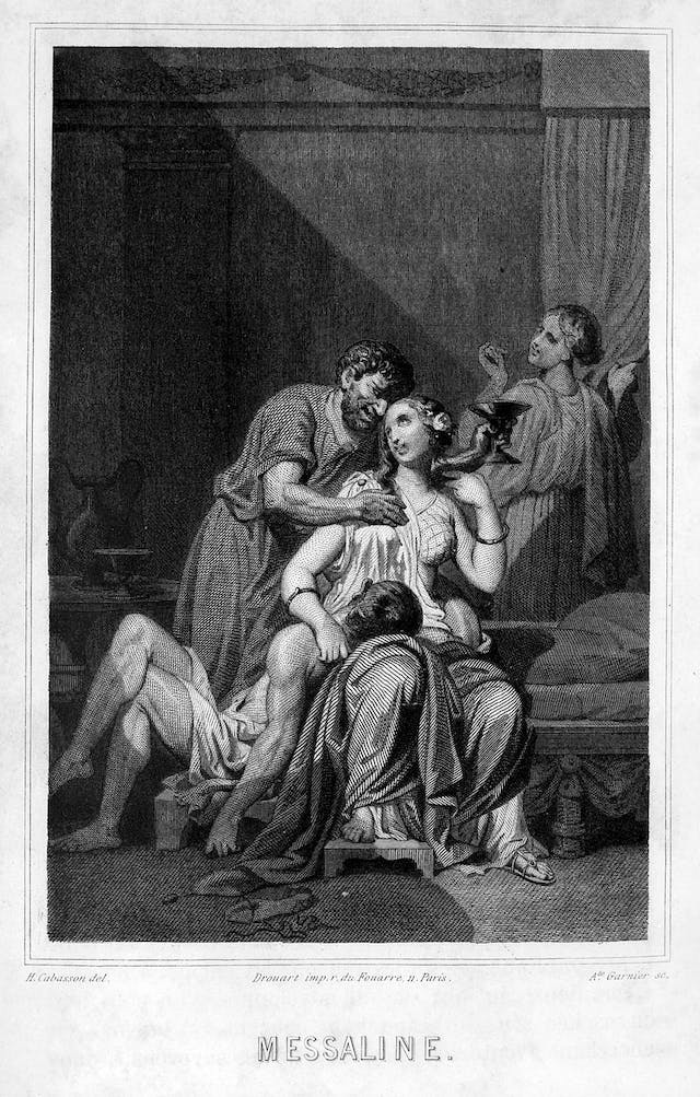 A black and white drawing showing a woman sat centrally wearing a white robe, with a male figure draped over her legs. Another male is leaning over her with his arm around her holding a cocktail shaped glass in his hand. Another female in robes is in the background looking over her shoulder at the scene.