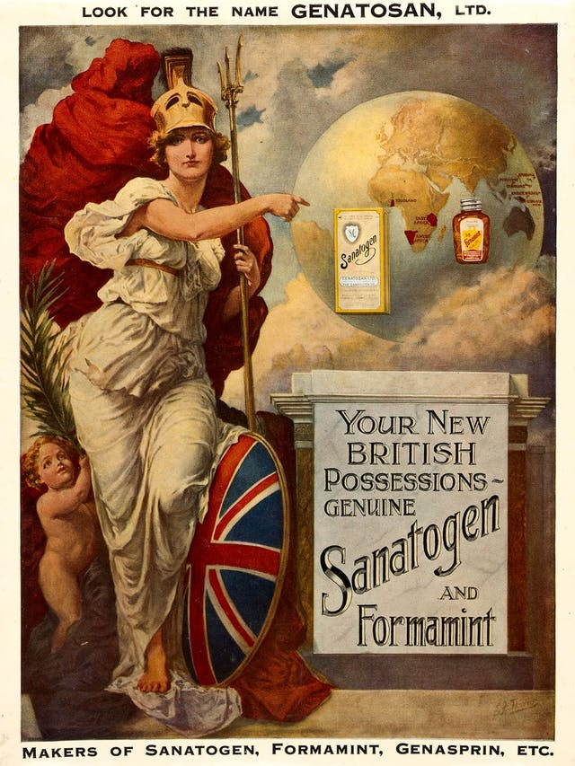 Image of poster featuring a woman wearing a toga, helmet, trident, red cape and shield with the Union Jack pointing at a globe and packaging for the Sanatogen drug.