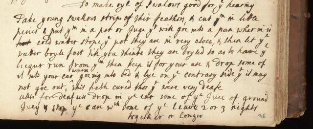 "Part of a page of text handwritten in ink with the title ""To make oyl of swalows good for ye hearing"", which talks about taking ""young swallows strips of their feathers""."