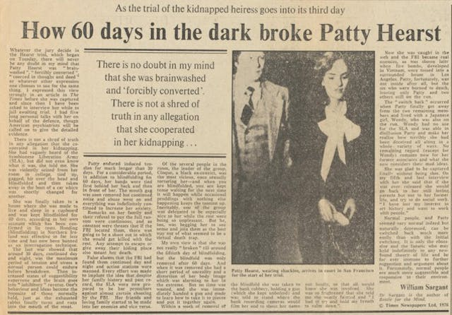 A newspaper article about Patty Hearst.