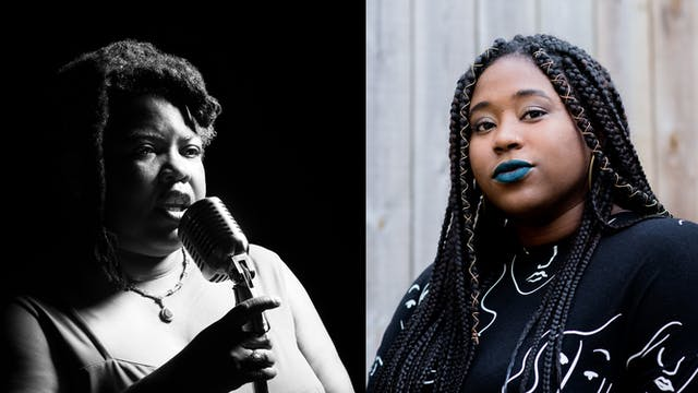 On the left is a black and white photographic portrait of Cheryl Martin who is performing and holding a microphone.  On the right is a headshot of Rianna Walcott
