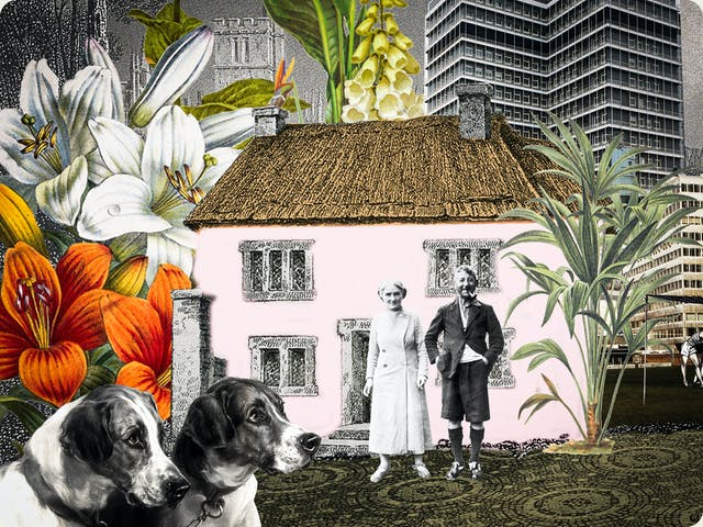 Artwork using collage. The collaged elements are made up archive material which includes, vintage photographs, etchings, painted illustrations, lithographic prints and line drawings. This artwork depicts a house, in front of which stands an elderly couple. The house is surrounded by large colourful drawings of flowers and trees. Behind the house in the distance is a skyline of tall tower blocks. In the foreground are the heads of two dogs with doleful eyes.