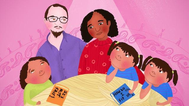 数字式彩色插图。该图示出了前景中圆形桌面的一部分,具有旋流木纹的木质纹理,类似于金发的股。桌面后面是一个由父亲和母亲的家庭,他们的双胞胎和旧女儿。这个家庭穿着色彩缤纷的鲜艳衣服。左边的老女儿穿着石灰绿色的顶部,父亲旁边戴着紫色衬衫,母亲是红色图案的跳线和孪生搭配红色水平销条纹的蓝色T恤。双胞胎女儿正在仰望母亲,就像父亲一样。母亲正俯视着仰望父亲的老女儿。父亲看起来是一个白色种族背景,黑人种族背景的母亲和混杂的种族背景的女儿。在桌面上是两本书,一个标题