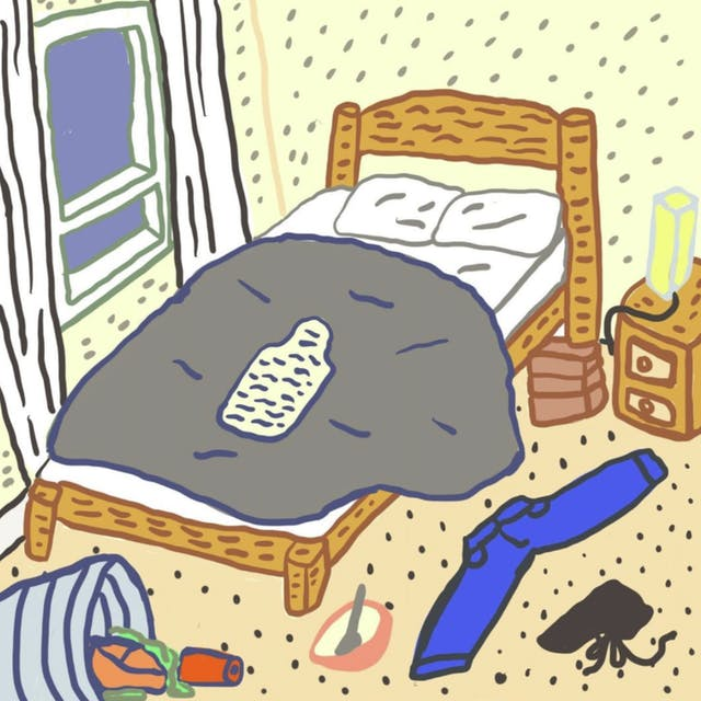 Webcomic showing a double bed in a room with a hot water bottle on top and clothes on the floor.