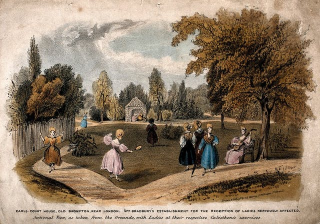 Image of coloured lithograph featuring an English garden with women dancing and playing music.