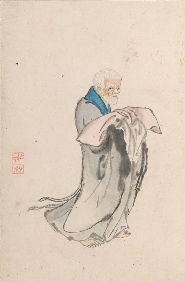 Painting of a Chinese man in grey robes holding a soft pillow.