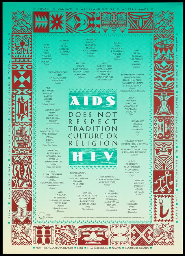 Message in numerous languages of the Pacific Islands that AIDS and HIV does not respect tradition culture or religion; advertisement by the Pacific Islands AIDS and STD Prevention Programme. Lithograph, printed in green and brown, 1995. middle-aged man in a shirt and tie aims a syringe at another man against a backdrop of a building bearing a flag representing a message about HIV by the AIDS Council of New South Wales. Colour lithograph, published in the 1990s.