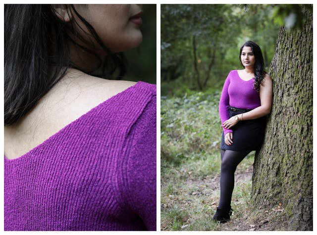 Photographic diptych. The image on the right shows a full length view of a woman leaning against a tree trunk who is wearing a purple woollen top and black thy length skirt. The top has one full length right arm and one bear left arm. She is standing looking off to camera left, with her left hand crossing her body to touch her right wrist. In the background can be seen a park or woodland scene. The image on the left shows a close-up of the same woman in the same top, concentrating on her right shoulder from behind so the material of the top can be seen against the skin of her back and shoulder. The profile of the bottom half of her face can just be seen at the top of the frame.