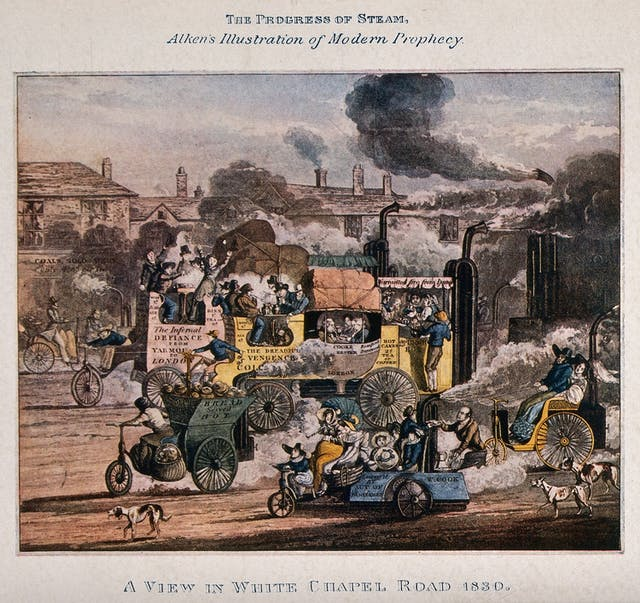 Image of ink drawing depicting steam powered vehicles