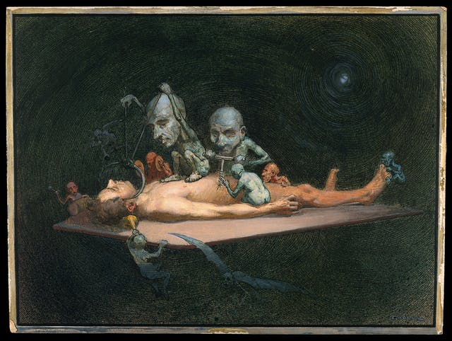Watercolour painting showing an unconscious naked man lying on a table being attacked by little demons armed with surgical instruments