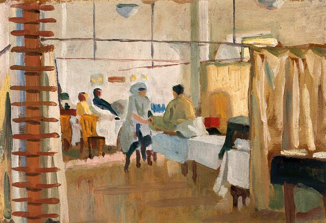 Oil painting depicting a warm scene in the massage room of a military hospital where a man sitting on a bed in his pyjamas is receiving a foot massage from a nurse.
