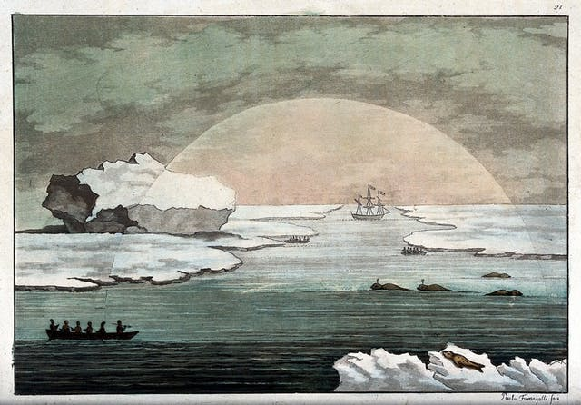 Image of ice and sea with a ship sailing away and a semi-circular going through the centre of the image which is lighter than the rest.