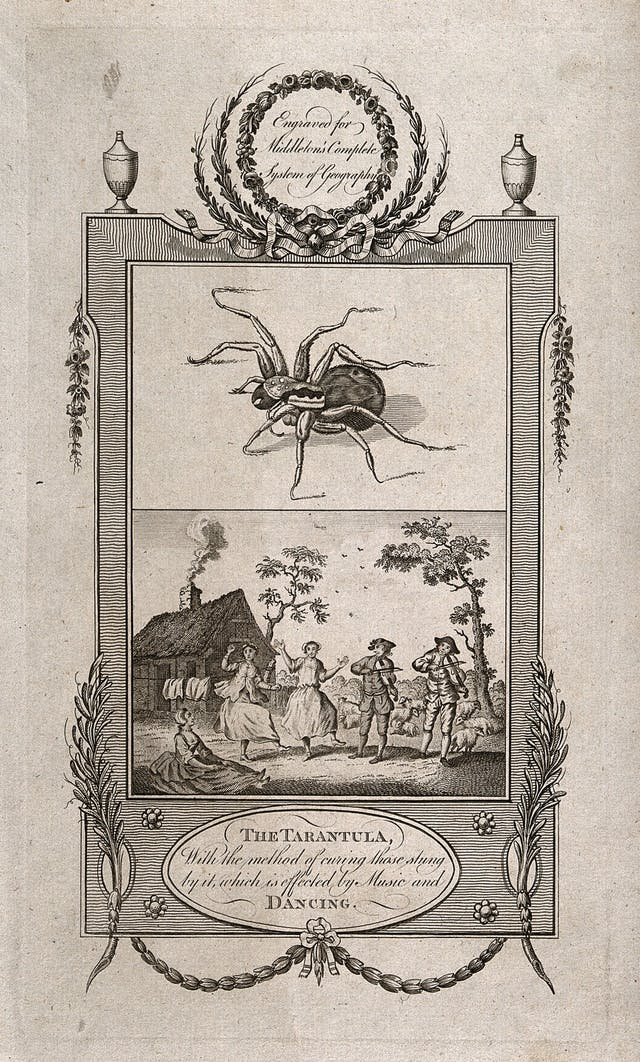 Etching of rectangular border with one image of a spider above and an image of men and women dancing and playing music below.