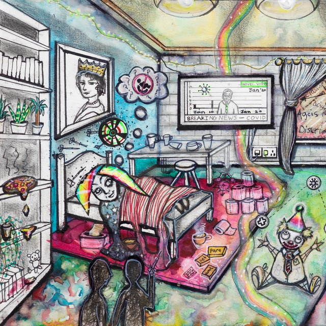 Artwork using watercolour and ink incorporating collaged words throughout the scene. The artwork shows a busy multi-coloured room. On the left hand side of the image a woman with rainbow coloured hair is lying in bed.  On the floor there are: packets of paracetamol; toilet rolls; and a toy clown juggling first aid, corona virus and pound symbols. In the foreground the silhouette of two people stand together at a distance from the bed. A rainbow flows across the room where a television mounted on the wall delivers Covid related news. Alongside the television, a window overlooking the outside world is filled with words including 'ableism'.  Next to the window is a door with a few words including the phrase 'no access'.  Beside the door is a picture of the word 'life' burning in flames. On the right hand side of the image is a bar, including someone sitting on one of the bar stools, and a packet of NHS crisps exploded on the floor. On the bar is the word 'community'.  On a pathway along which arrows dart in different directions, stands a wheelchair, this separates the bedroom scene from the bar scene.