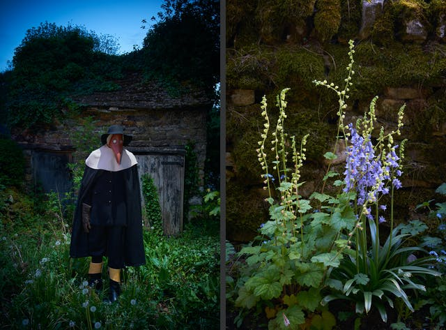 Photographic diptych showing on the left a mannequin dressed as a plague doctor, against an old brick barn building, surrounded by foliage. On the right is a photograph of local flora against a dry stone wall covered in moss.
