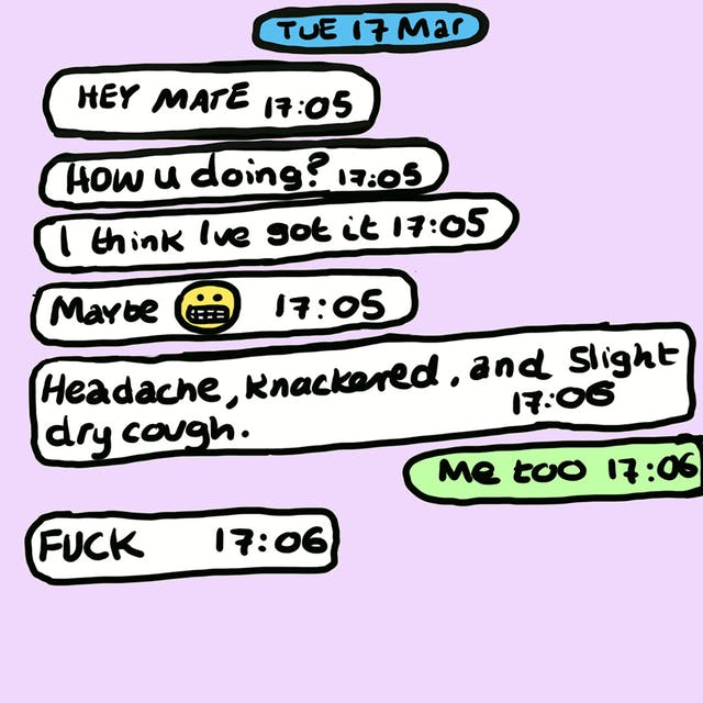 Webcomic showing a text conversation on a pink background. The conversation includes asking how the recipient is doing while stating they think they have COVID-19, and lists symptoms.