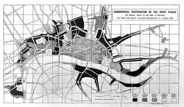 "Black and white map of London showing some areas in black where there were more than 3000 deaths per unit square, crosshatched areas for 2000 or more deaths, hatched for 1000 or more and dotted for 500 or more. Most of the centre of the map is hatched and crosshatched, with large areas above that are black and a large central area below the river Thames that is black. There is a black ring around ""The Abbey"" marked to the left."