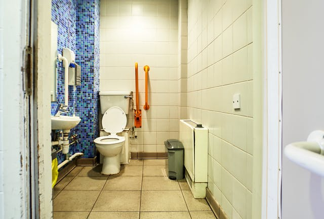 Photograph though the doorway of an accessible toilet showing part of the door and doorframe, along with the contents of the room, toilet, basin, sanitary bin and baby changing table. One of the walls is covered in a tile mosaic made up of small blue, green and black tiles.