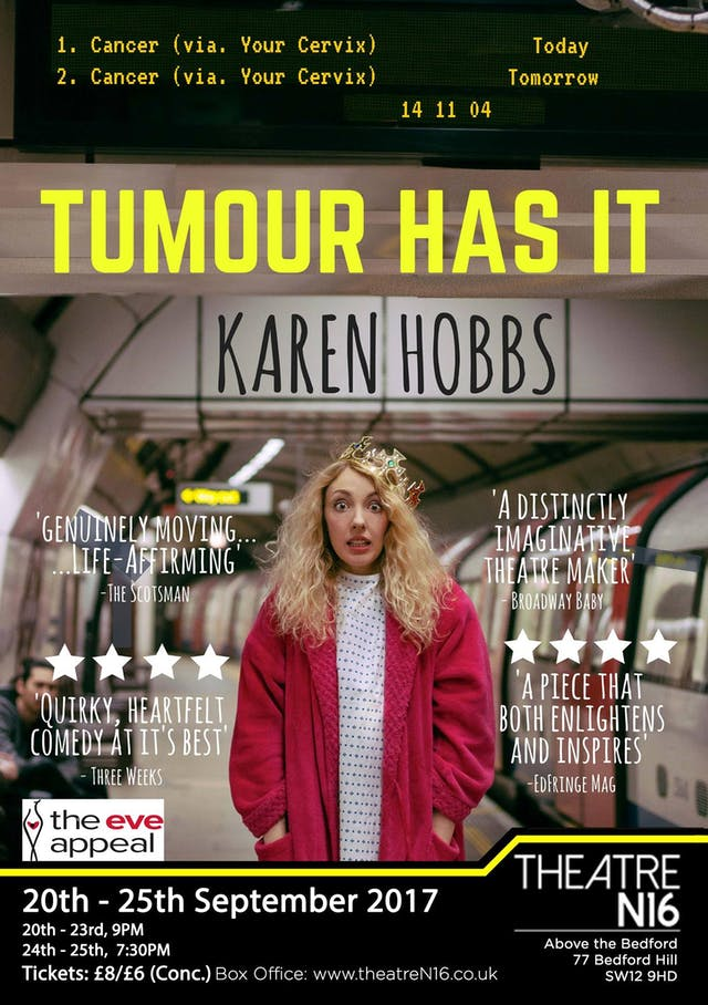 Poster for the show 'Tumour Has It' by Karen Hobbs.