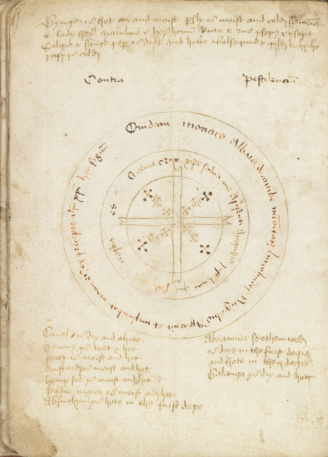 Circular drawing of a charm with medieval text on a yellowing page.