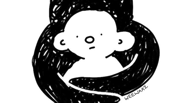 一个卡通人物有一块暗云缠绕在它们周围。两者都庄严地看着他们的脸。
