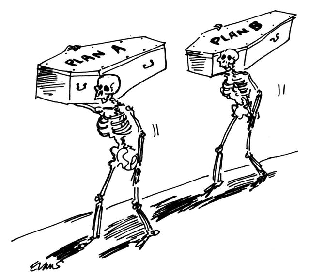 A cartoon of two coffin-carrying skeletons