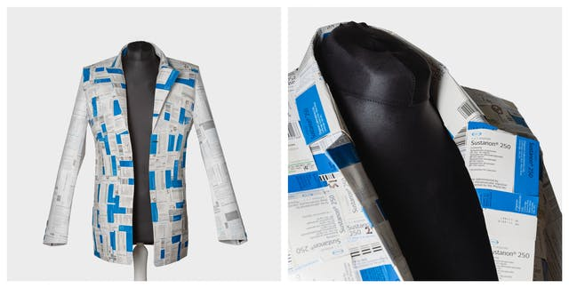 Photographic diptych showing a wide view of a jacket on a mannequin made out of medicine boxes on the right and a close up of the lapel area on the left.