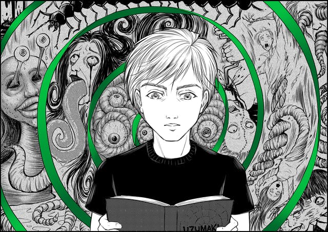 Illustration in the style of Manga graphic novels, showing a young person looking at an open book titled, Uzumaki. Behind them is a spiralling green ribbon, within which are body horror illustrations of faces with bleeding eyes, giant tongues, tentacles, insects, stitched up faces and expressions of horror.