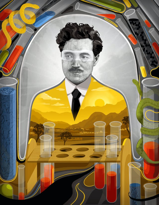 Illustration of Hideyo Noguchi showing an African landscape in the space of his torso, and a frame depicting test tubes and snakes.