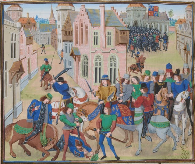 Colour illustration showing a battle with men on foot and on horse back. In the foreground a man lies on the ground while being stabbed by another man with a sword.