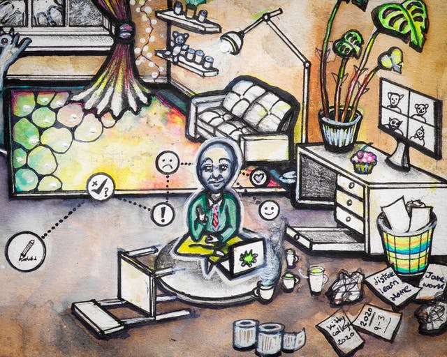 Artwork using watercolour and ink incorporating some collaged words. The artwork shows a busy multi-coloured living room scene in which a small man wearing a tie sits in lotus position in front of a laptop surrounded by cups of tea, crumpled paper, and a chair on its side. Above his head are symbols in circles such as a check mark, a pencil, and a smiley face joined by dotted lines.