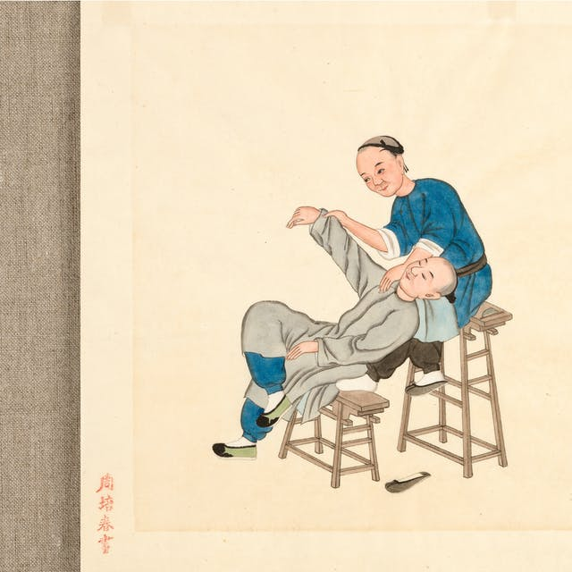 Photograph of a watercolour depicting Chinese medicine where a practitioner massages a patient