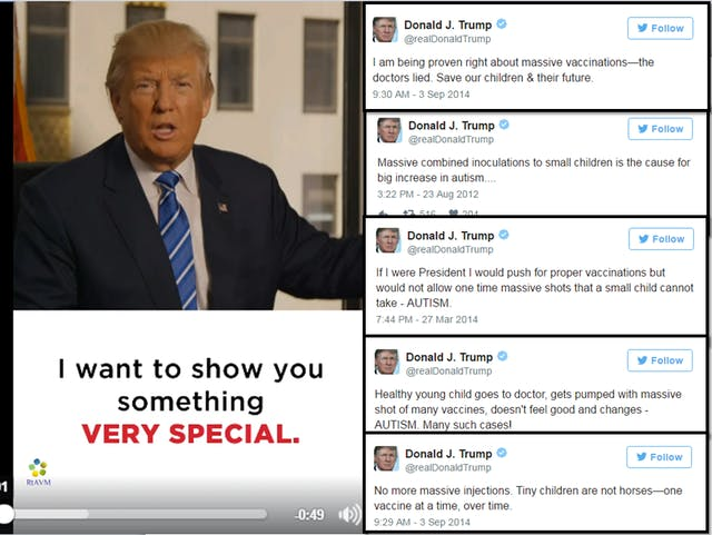 Montage of anti-vaccination tweets by Donald Trump