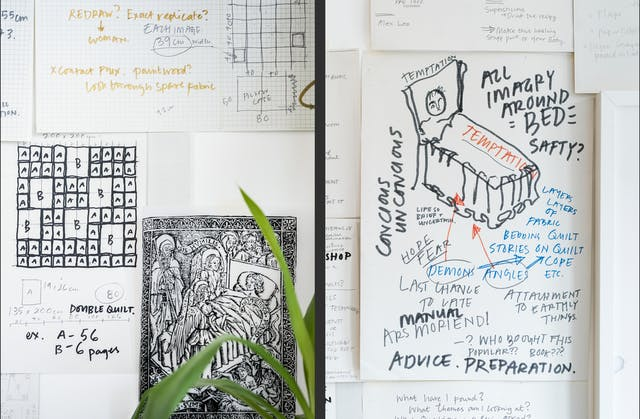 Photographic diptych, both images showing a section of wall covered in pieces of paper which contain sketches and drawings. On the right the sketch depicts a bed with someone lying in it. Written around the bed are the words, All imagery around bed safety?, temptation, conscious unconscious.