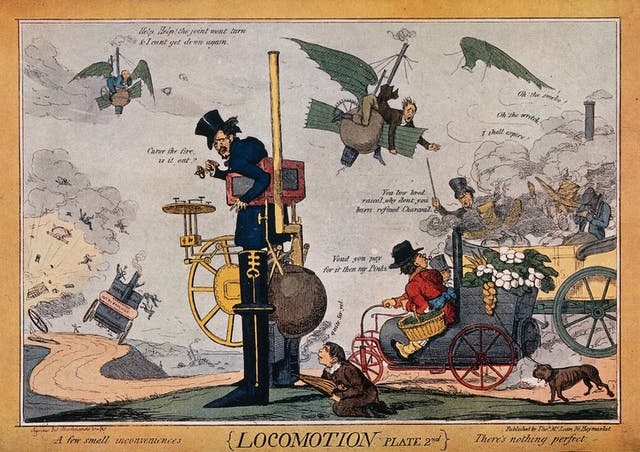 Image of colour ink drawing of men riding strange-looking vehicles which are malfunctioning.