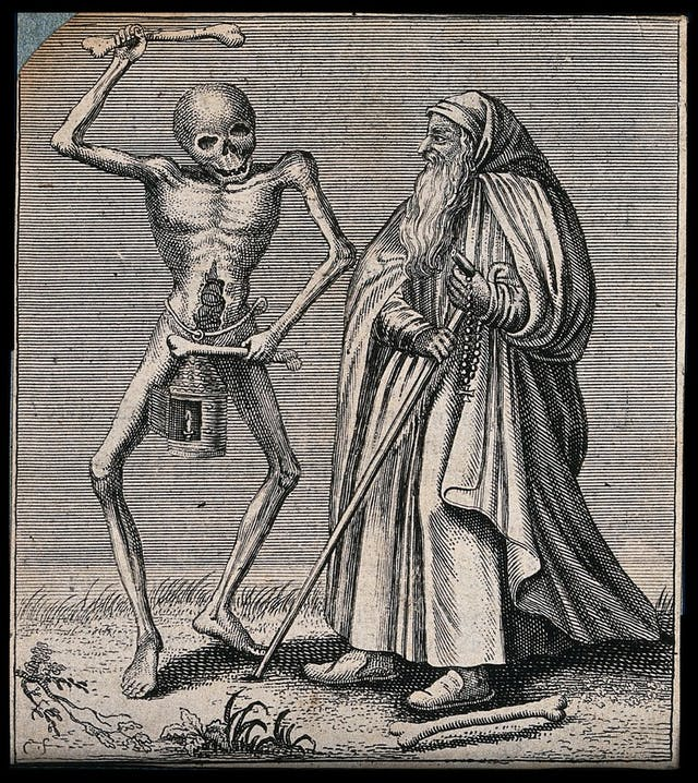 Image of monochrome engraving featuring a dancing skeleton and a bearded man wearing long robes