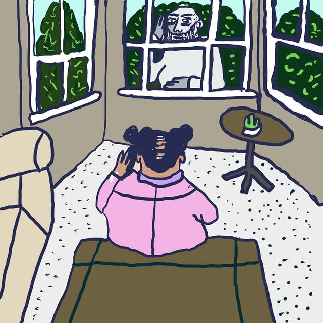 Webcomic showing two individuals, one with their back to the viewer and the other facing. The facing individual is stood outside of a window, whereas the other individual is sat on the other side of the window on a brown object, in a room also including a round brown table.