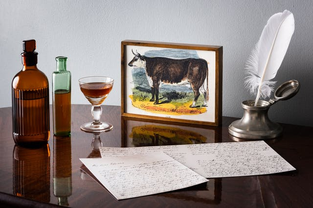 Photograph of a glossy wooden tabletop against a white textured wall. On the table is an illustration of a cow in a wooden frame. Next to the frame is an elegant glass filled with a light brown liquid, two dispensing glass bottles in brown and green glass, a quill in an ink pot and 3 sheets of paper covered in handwriting.