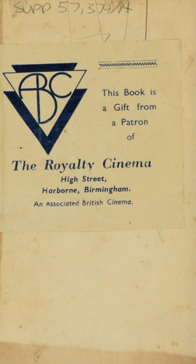 Bookplate with the logo of Associated British Cinema and the text