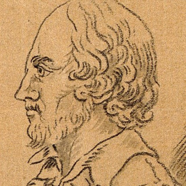 Drawing of William Shakespeare in profile view, brown background.