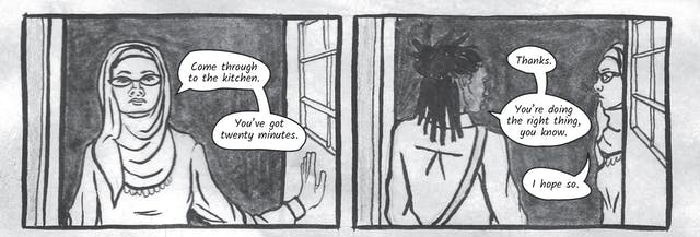 The greyscale graphic novel continues. The seventh image contains two illustrated boxes. In the one on the left, Dr Siddiqui stands in the doorway looking straight at Zoe. She says,