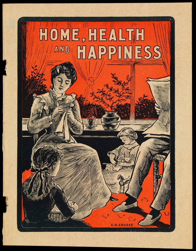 Poster in black, white and red depicting a family in Edwardian clothes, mother sewing with two children playing at her feet and father